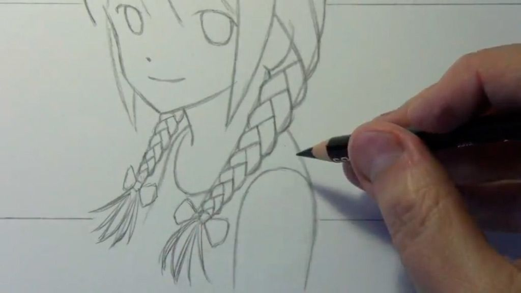 How to draw to Kuris Makise from the Gate of Matte (Steins Gate) with a pencil step by step 5