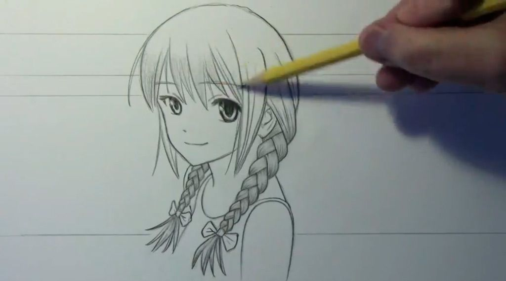 How to draw to Kuris Makise from the Gate of Matte (Steins Gate) with a pencil step by step 9
