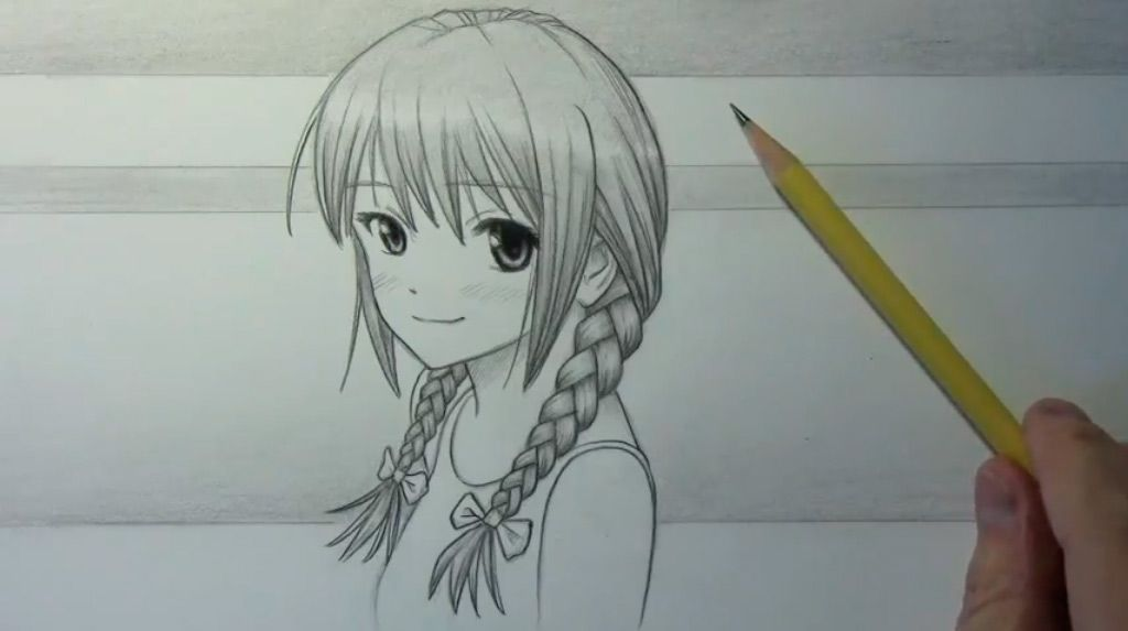 How to draw an anime the girl with braids a pencil step by step