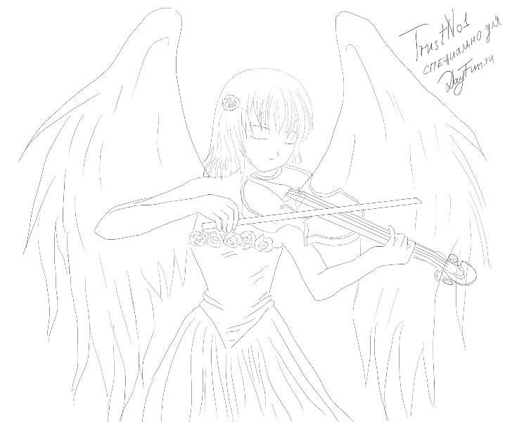 How to draw an anime angel with a violin a pencil step by step