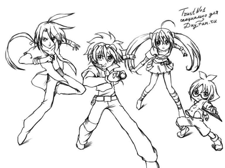 How to draw characters of an anime series Bakugang with a pencil step by step