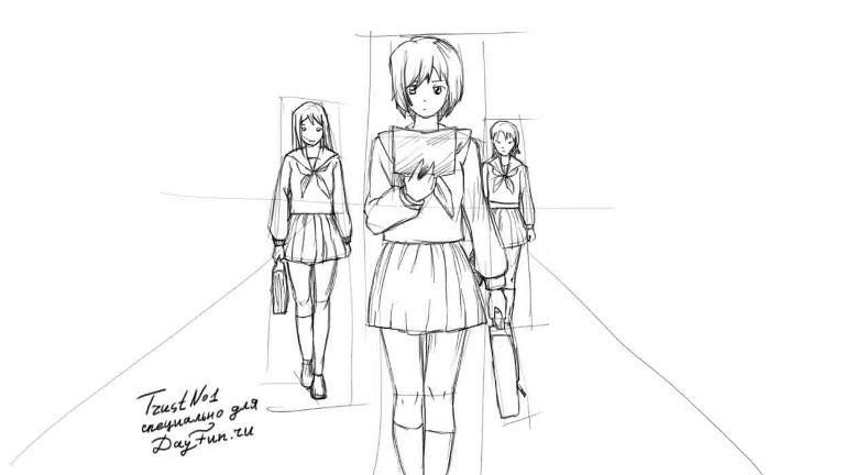 How to draw an anime the girl angel with a pencil step by step 4