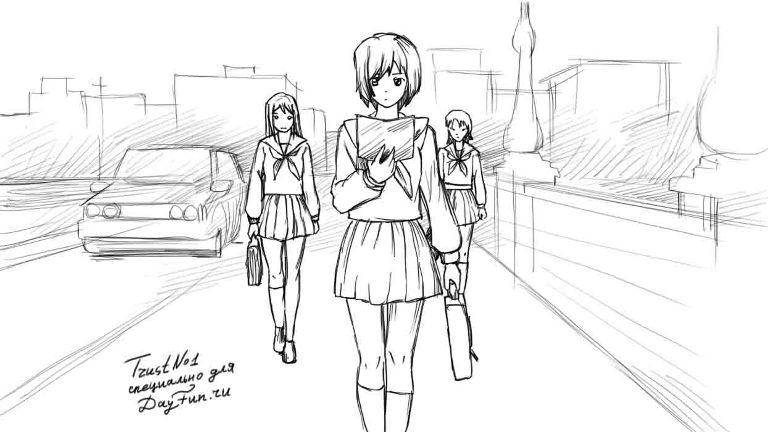 How to draw an anime the schoolgirl with a pencil step by step