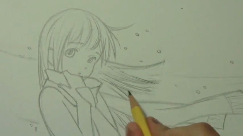 How to draw an anime a kiss with a pencil step by step 3