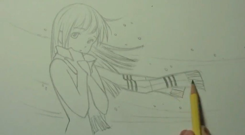 How to draw an anime a kiss with a pencil step by step 4