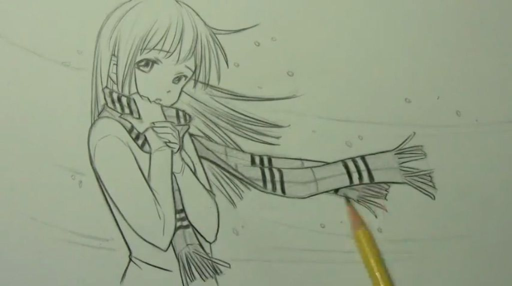 How to draw an anime a kiss with a pencil step by step 6