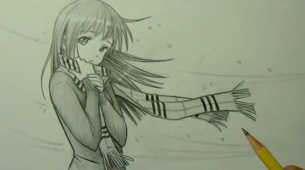 How to draw an anime the girl with a scarf a pencil step by step