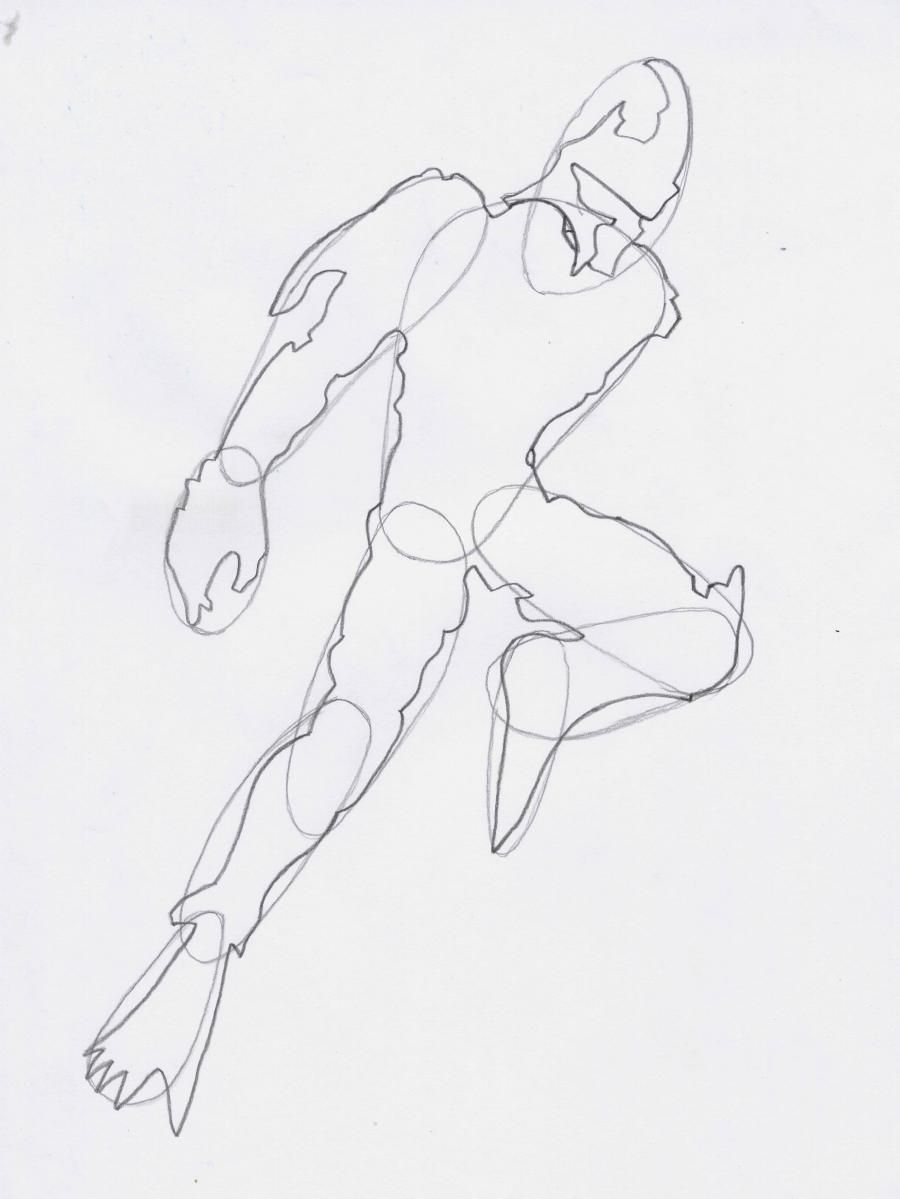 How to draw a Crysis 3 suit with a pencil step by step 3