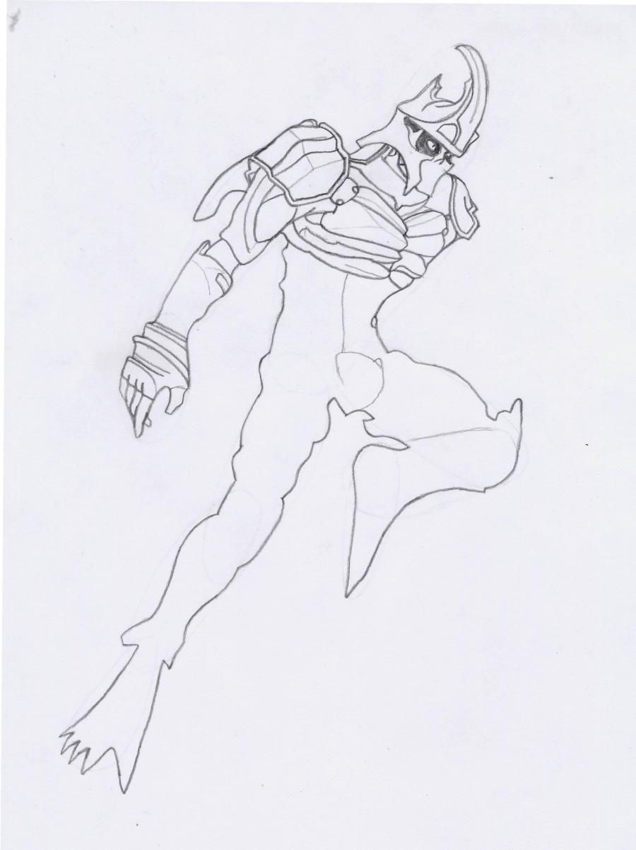 How to draw a Crysis 3 suit with a pencil step by step 5
