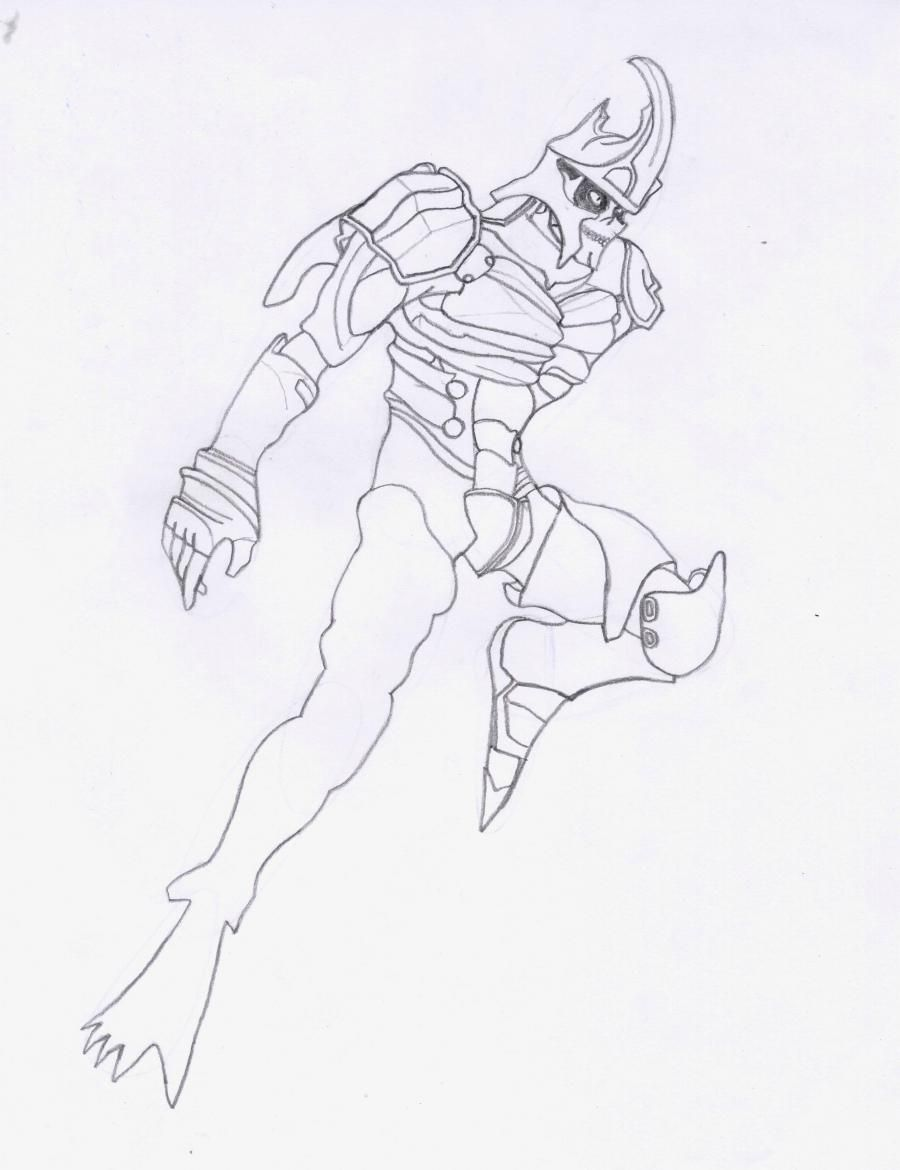 How to draw a Crysis 3 suit with a pencil step by step 6