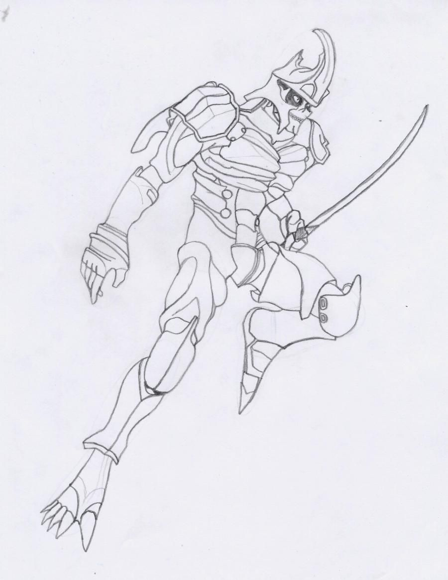 How to draw a Crysis 3 suit with a pencil step by step 7