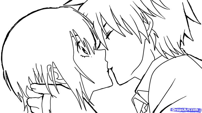 How to draw an anime a kiss with a pencil step by step