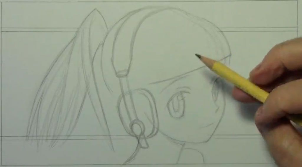 How to draw the girl lying on a bed of an anime step by step 2