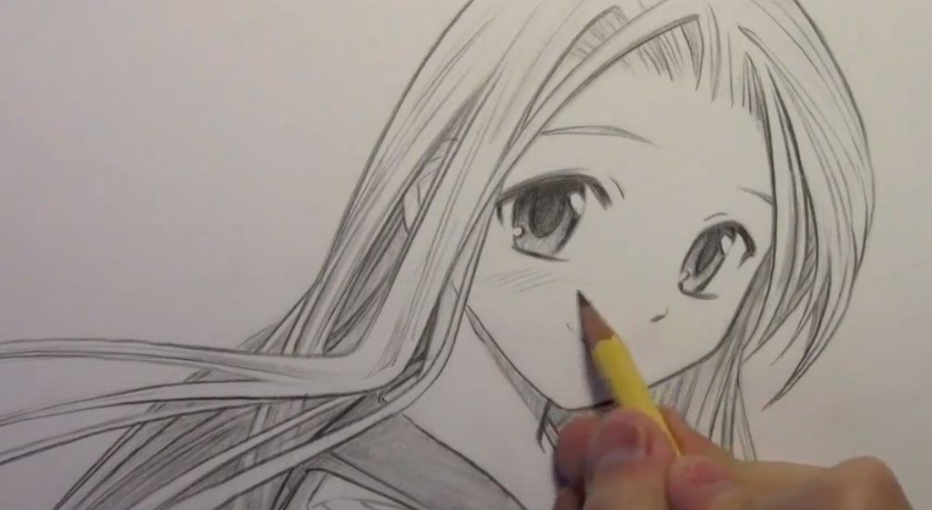 How to draw the girl with realistic eyes in style a manga