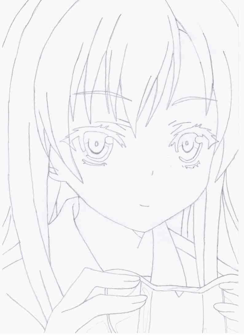 How to draw the girl from an anime of Boku wa Tomodachi ga Sukunai step by step