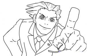 How to draw Phoenix Wright step by step