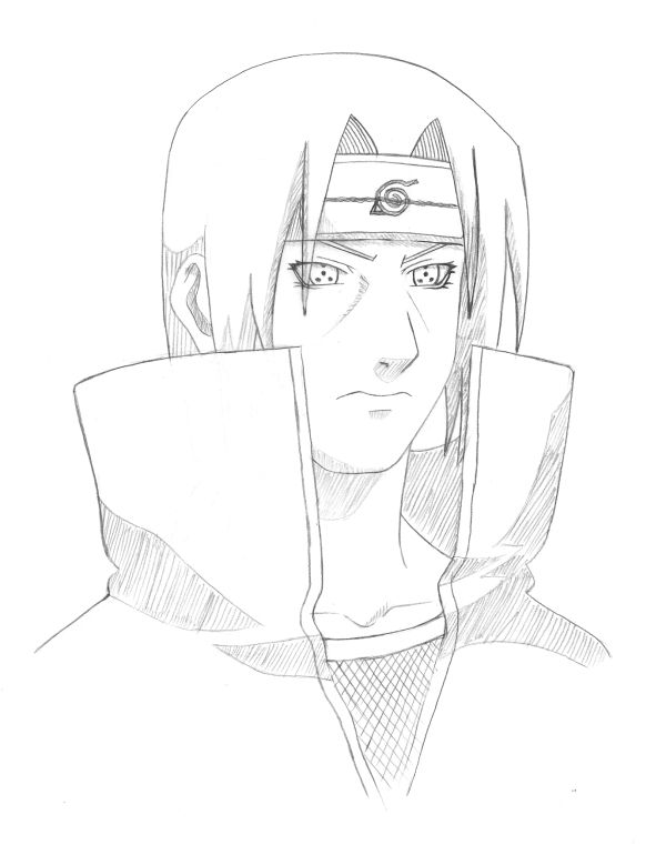 How to draw Itachi with a pencil