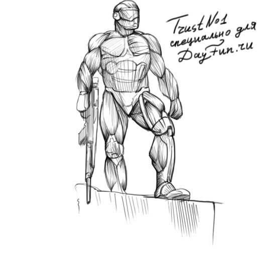 How to draw a Crysis 3 suit with a pencil step by step