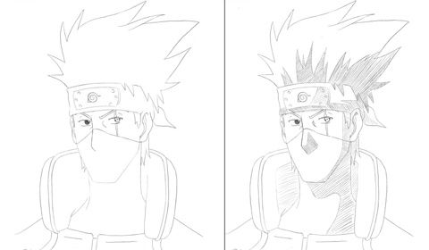 How to draw Kakasha (Kakashi) from the Anime