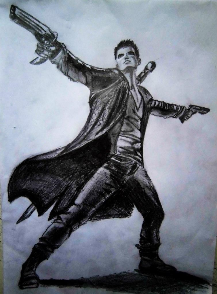 How to draw Dante from DmC 2013 with a pencil step by step