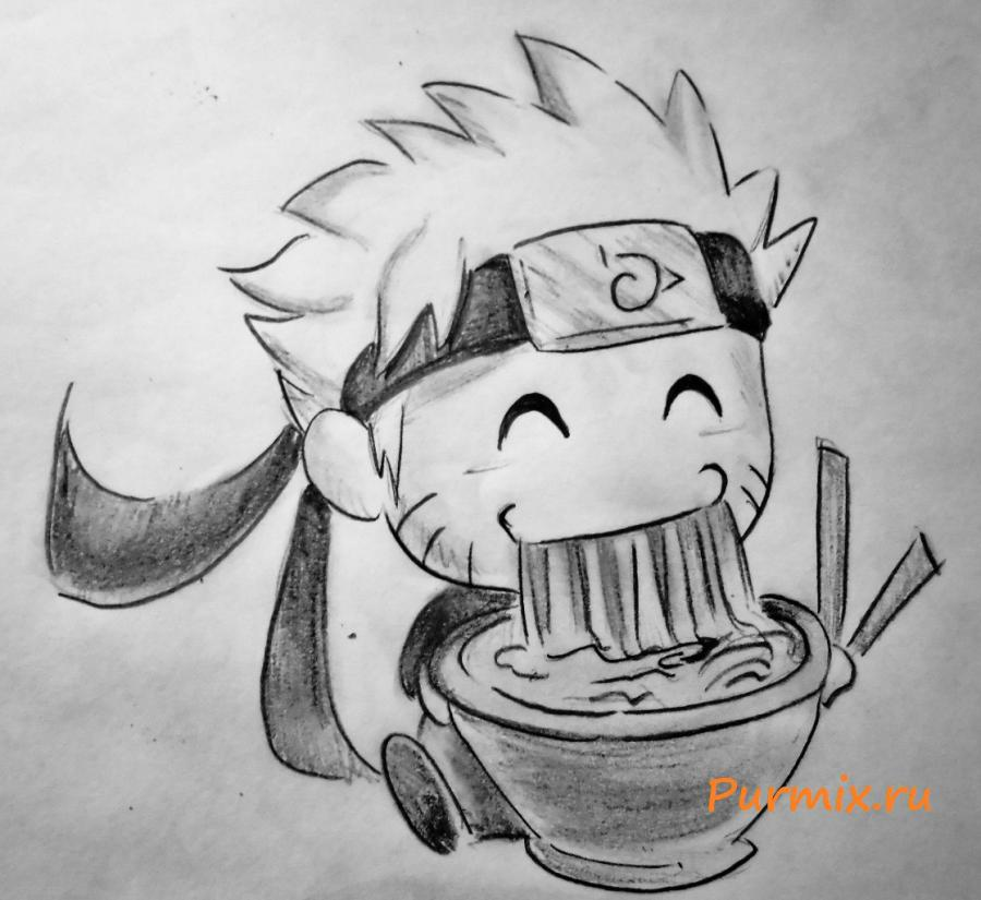 How to draw Naruto in style of a chiba with a simple pencil