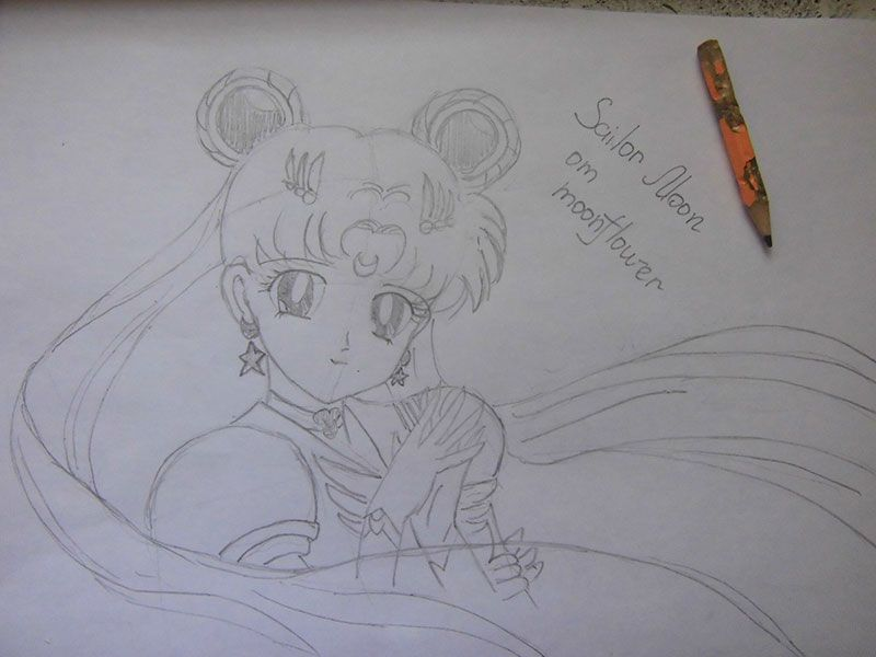 How to draw the Cinderella in style of a chiba with a simple pencil step by step 17