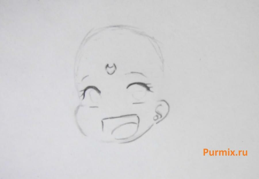 How to draw the Cinderella in style of a chiba with a simple pencil step by step 3