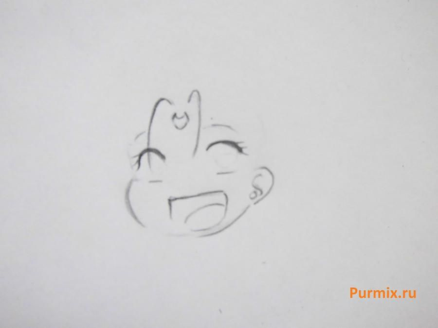How to draw the Cinderella in style of a chiba with a simple pencil step by step 4