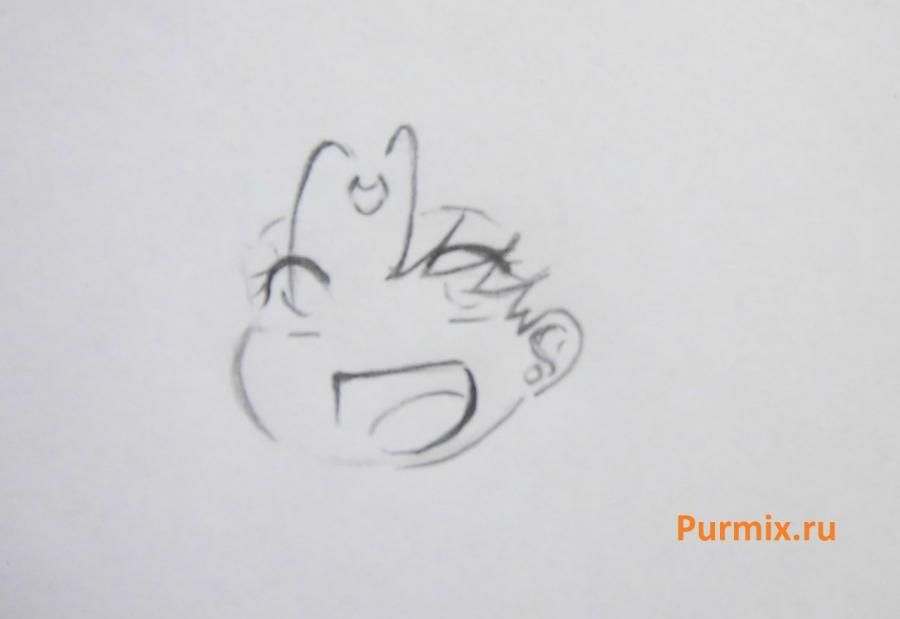How to draw the Cinderella in style of a chiba with a simple pencil step by step 5