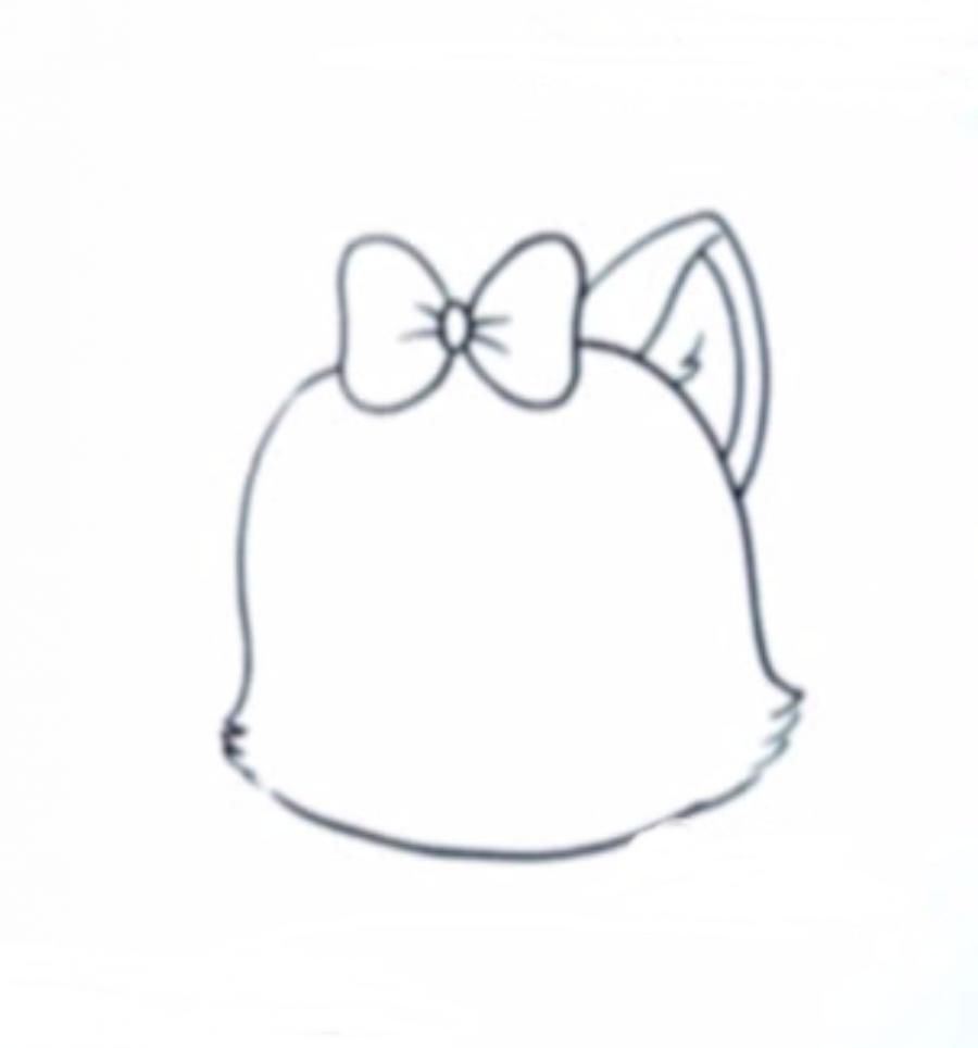 How to draw neko in style of a chiba with a simple pencil 3