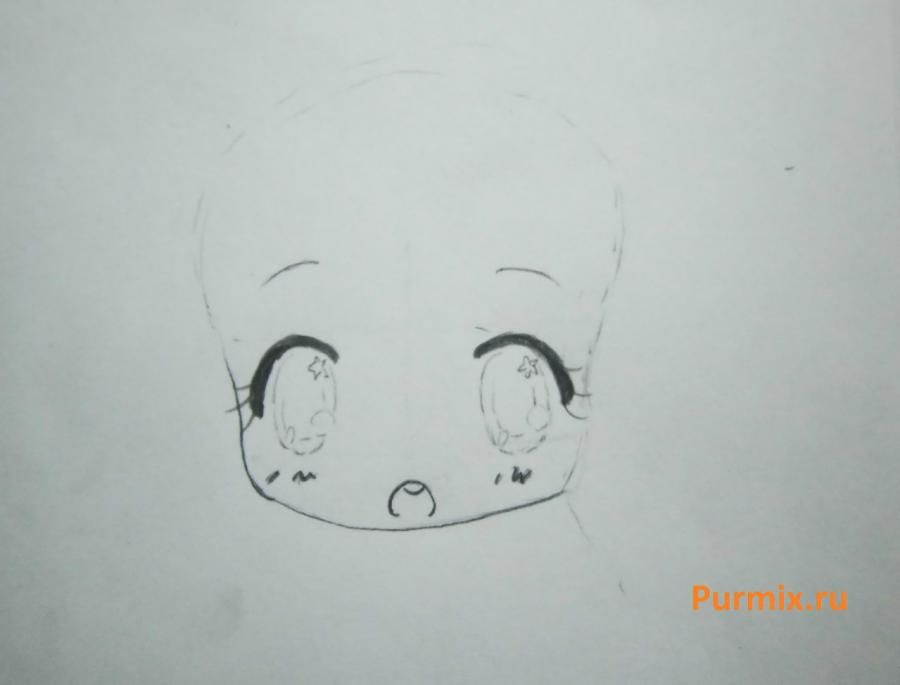 How to draw chib the she-robber with a pencil step by step 3