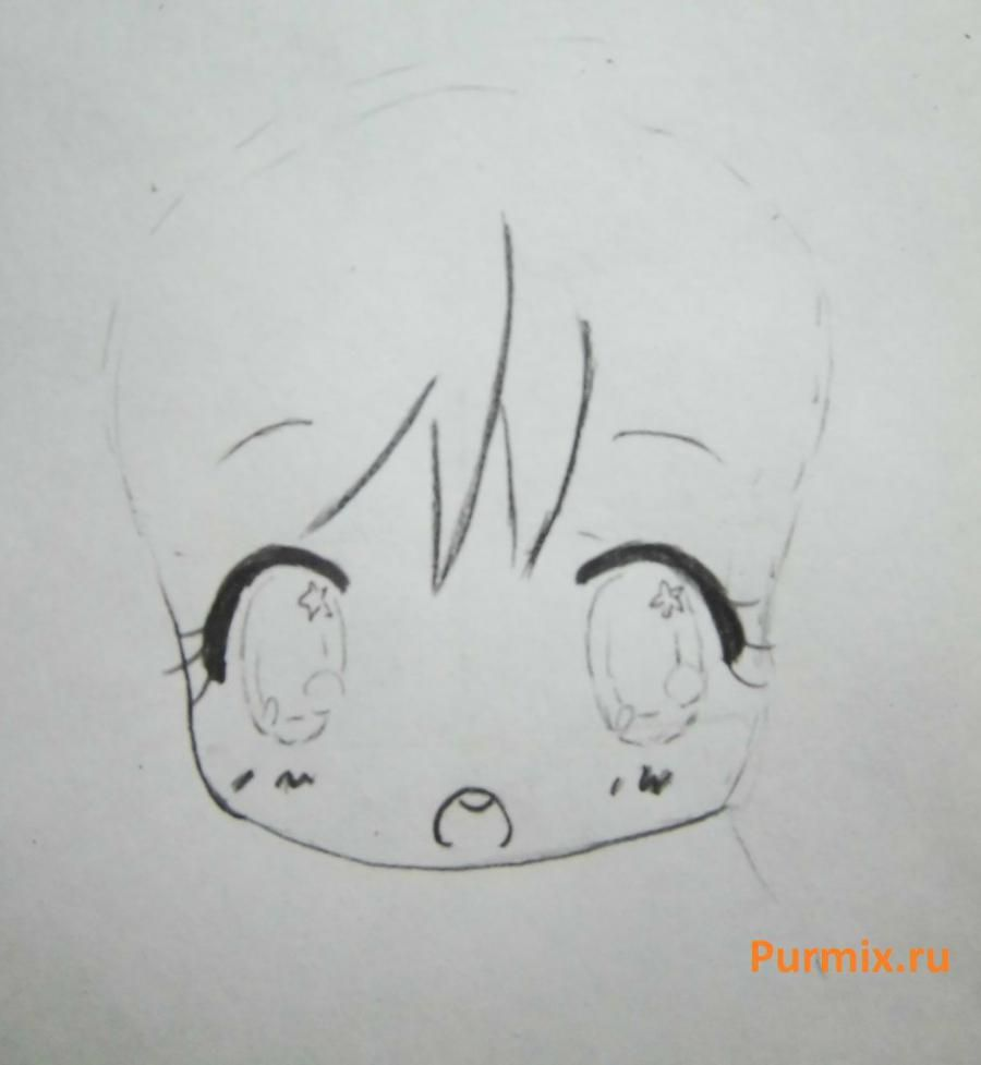 How to draw chib the she-robber with a pencil step by step 4