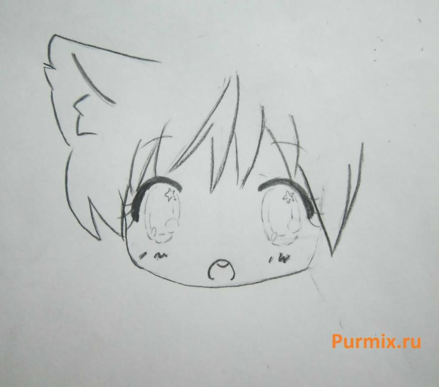 How to draw chib the she-robber with a pencil step by step 6