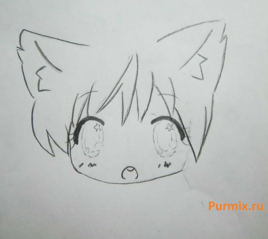 How to draw chib the she-robber with a pencil step by step 7