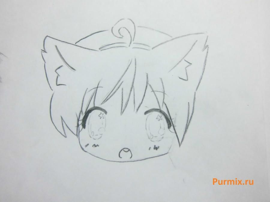 How to draw chib the she-robber with a pencil step by step 8