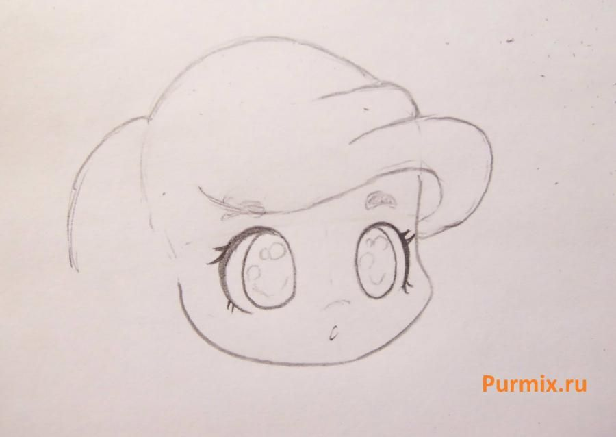 How to draw chib a she-wolf with a pencil step by step 6