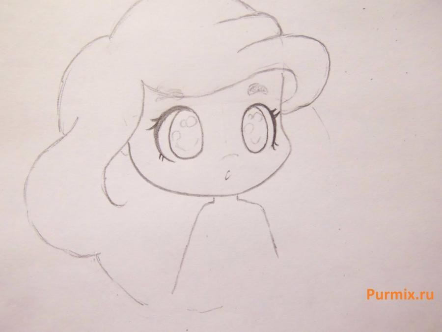 How to draw chib a she-wolf with a pencil step by step 9