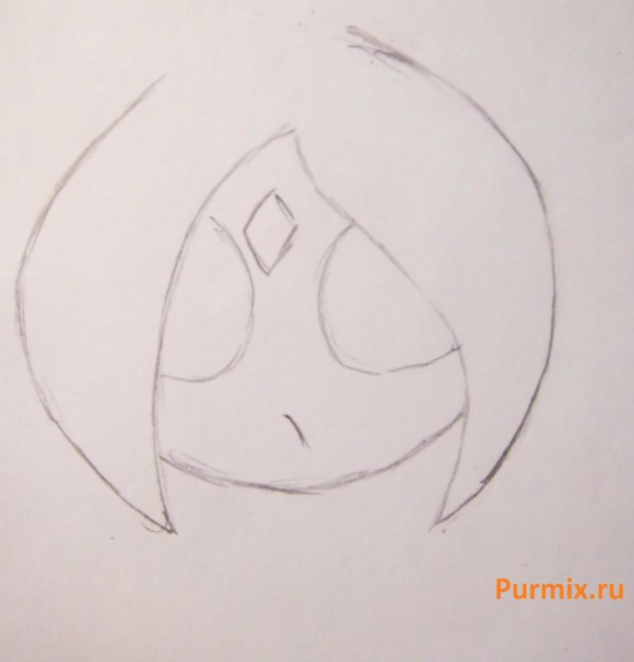 How to draw the singing girl of a chiba with a pencil step by step 6