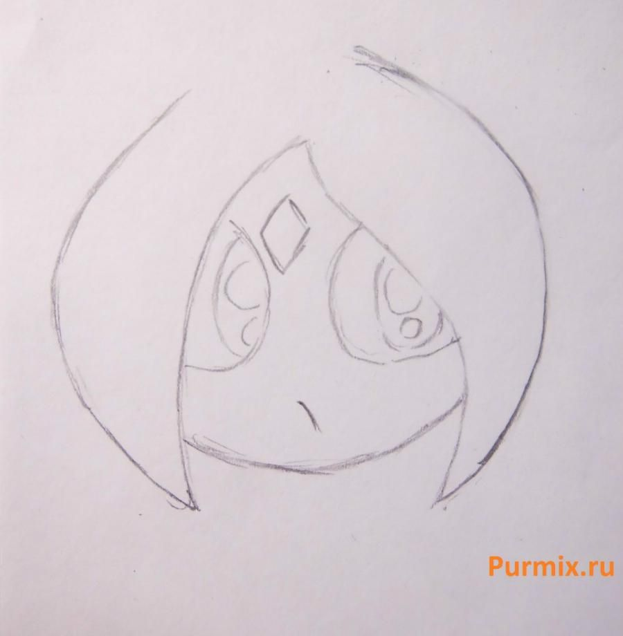 How to draw the singing girl of a chiba with a pencil step by step 7