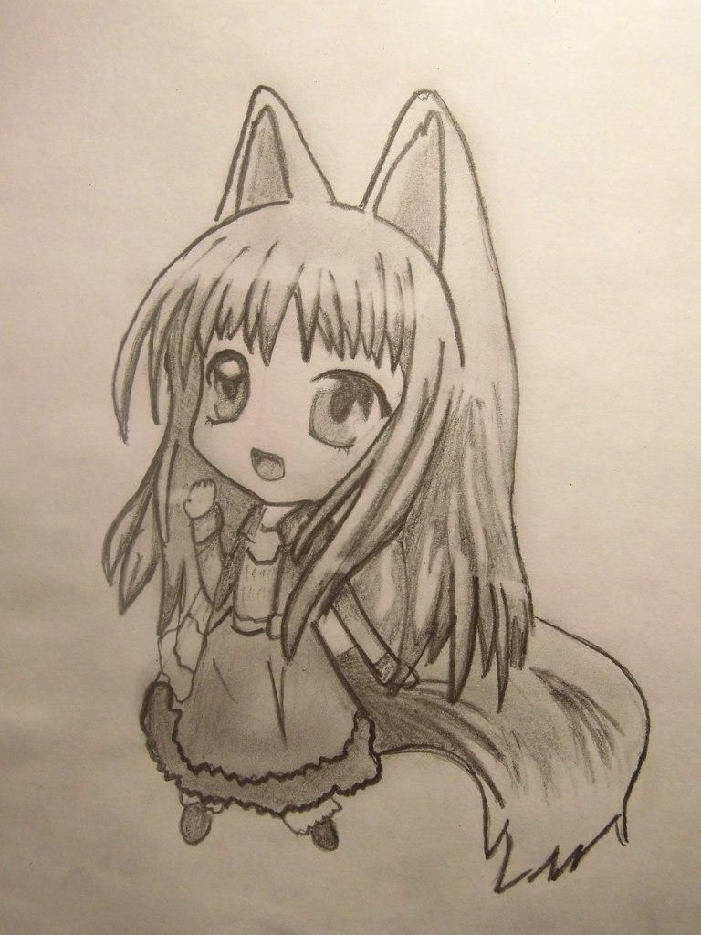 How to draw chib a she-wolf with a pencil step by step