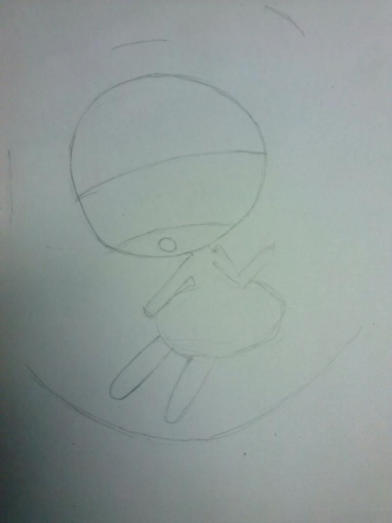 How to draw chib of the demon with a pencil step by step 2