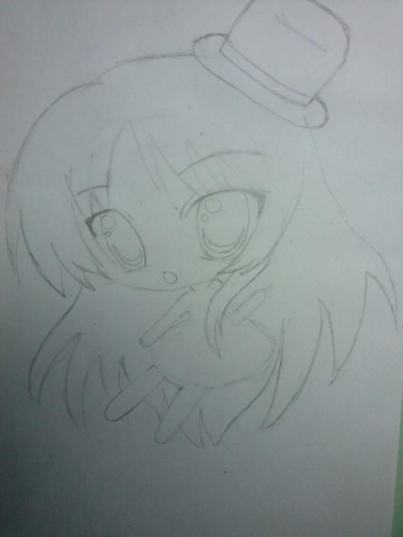 How to draw chib of the demon with a pencil step by step 3