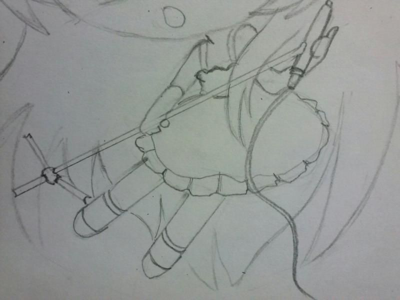 How to draw chib of the demon with a pencil step by step 4