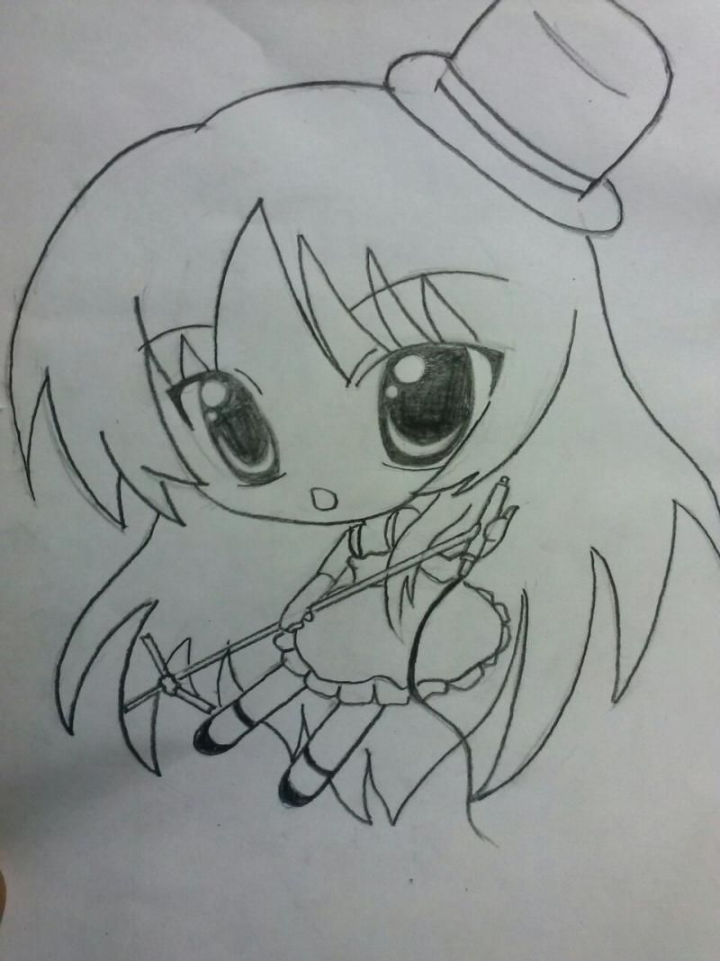 How to draw chib of the demon with a pencil step by step 5