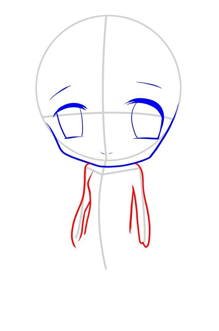 How to draw an enclasping in style of Chibi with a pencil step by step 6