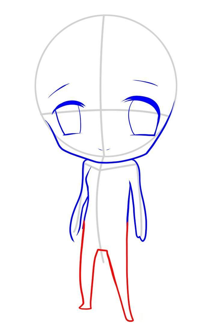 How to draw an enclasping in style of Chibi with a pencil step by step 7
