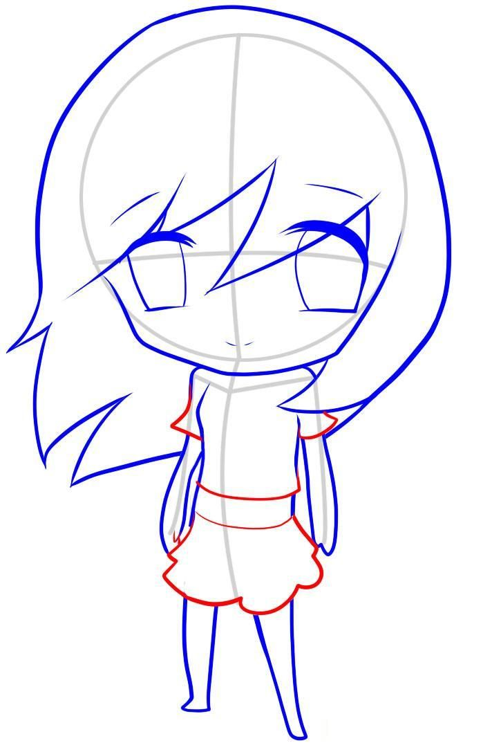 How to draw an enclasping in style of Chibi with a pencil step by step 9