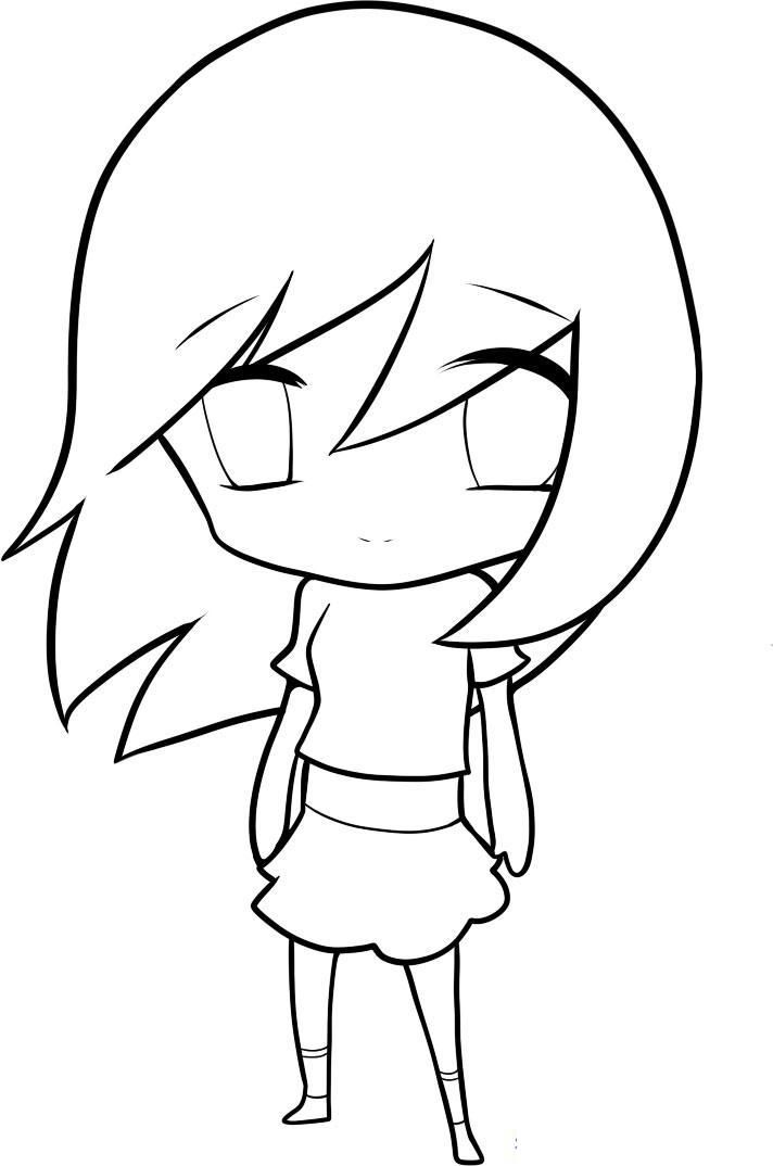 How to draw chib the girl with a pencil step by step