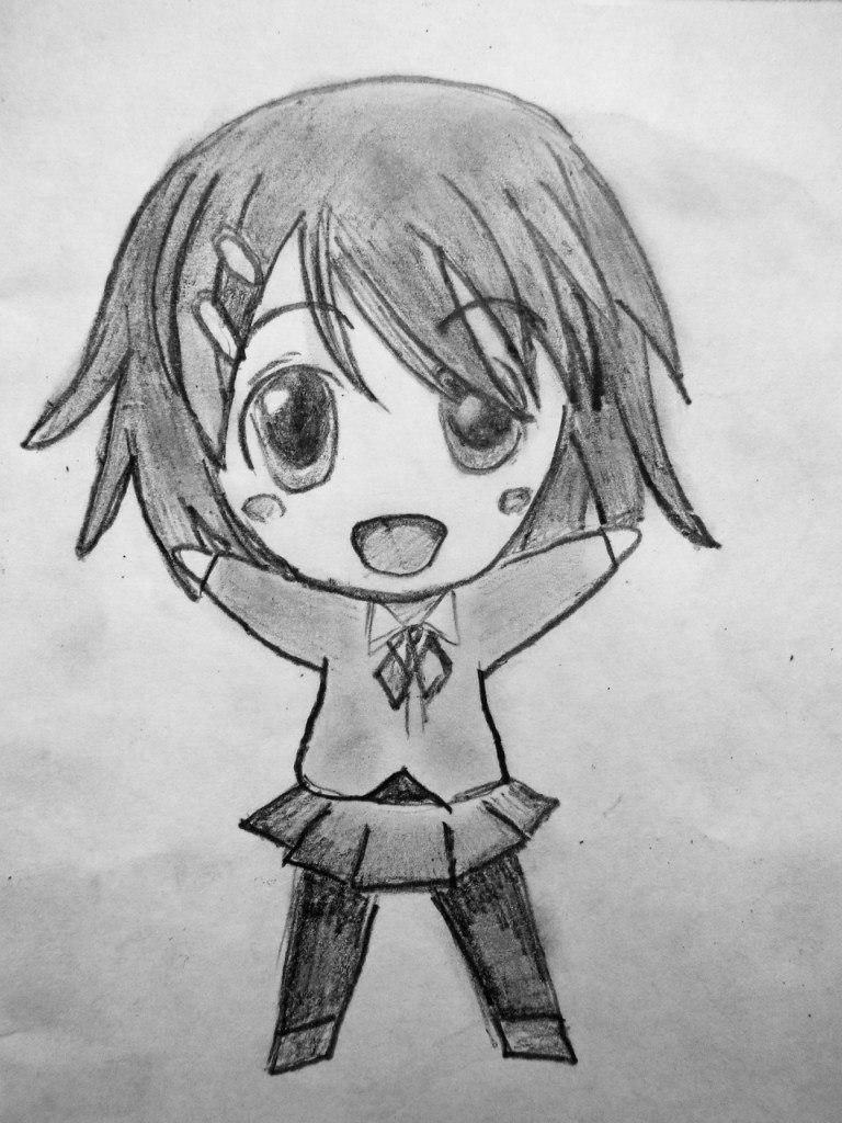How to draw happy chib the girl with a pencil