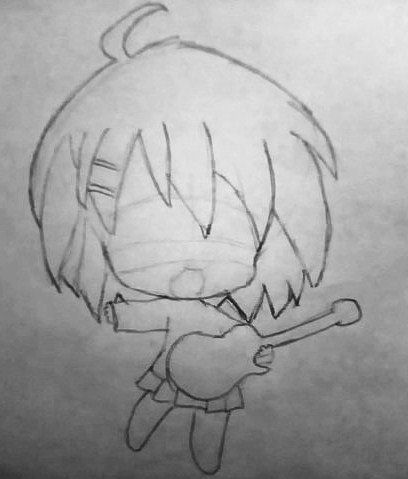 How to draw the girl with long hair in style of Chibi a pencil step by step 2